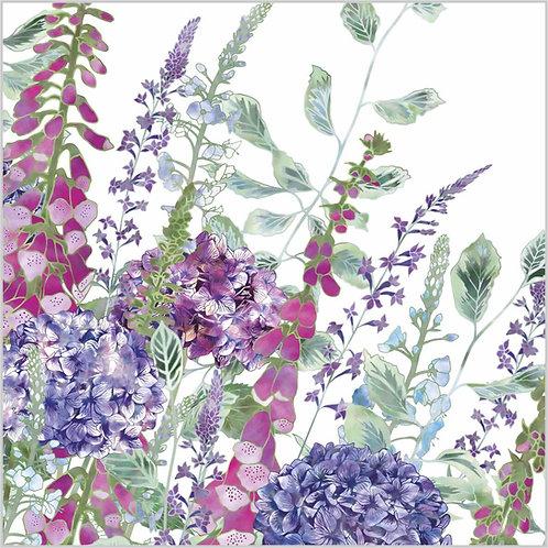 Flower Art / Floral Greeting Card 'Summer Rhapsody' (foliage, foxgloves, veronica, hydrangeas, veronica flowers)