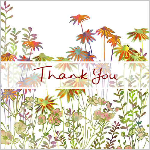 Flower Art / Floral Thank You / Thanks Card 'Daisy Garden'