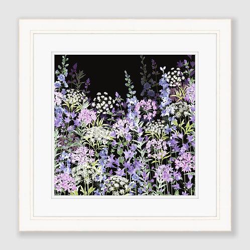 Midnight Floral Symphony (Square) Print