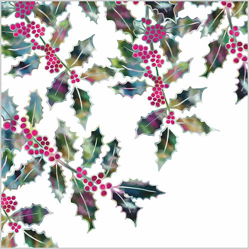 Flower Art / Floral Christmas Card / Winter Card 'Winter Holly', Holly Leaves & Holly Berries