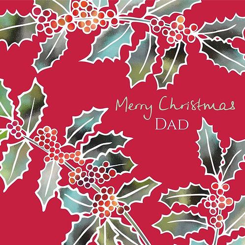 Flower Art / Floral Christmas Card 'Yuletide Berries' Merry Christmas Dad, Holly Leaves, Holly Berries