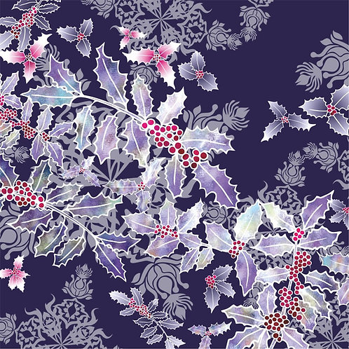 Flower Art / Floral Christmas Card 'Indigo Holly Cascade', Merry Christmas, Holly Berries, Holly Leaves