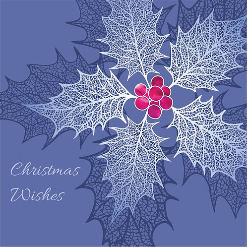 Floral Art Christmas Card 'Heavenly Holly', Blue, Merry Christmas, Holly Leaf Skeletons, Holly Berries, Holly Leaves