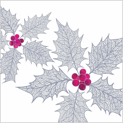 Flower Art / Floral Christmas Card / Winter Card 'Winter Memories', Holly Leaves, Holly Berries, Holly Leaf Skeletons