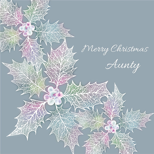 Floral Art Christmas Card 'Ethereal Holly Aunty', Merry Christmas, Holly Leaves, Ivy, Holly Leaf Skeletons, Holly Berries