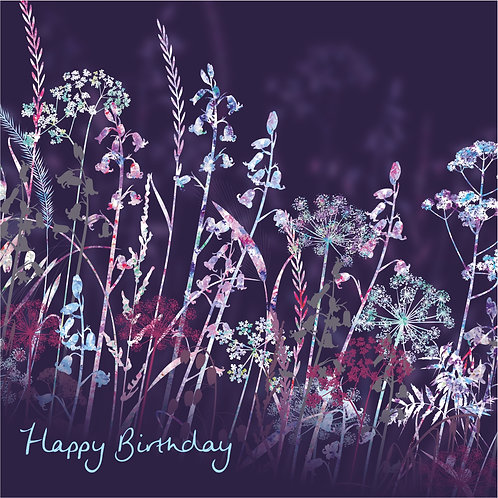 Flower Art / Floral Happy Birthday Card 'Midnight Meadow' (Grasses, Cow Parsley, bluebells)