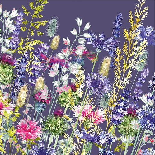 Flower Art / Floral Greeting Card 'Wandering Through Whimsy' (cornflowers, lavender, thistles, grasses, centaurea)