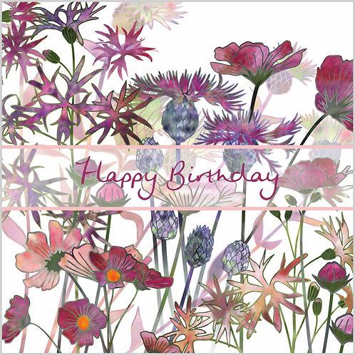 Flower Art / Floral Birthday Card 'Wild at Heart' (Wild Flowers)