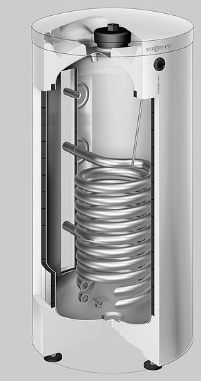 Z015296 Бойлер Vitocell 300-V, тип EVIA-A, 300 нерж. сталь. Цвет-серебристый.