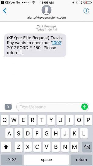 KEYper GO mobile app text alerts