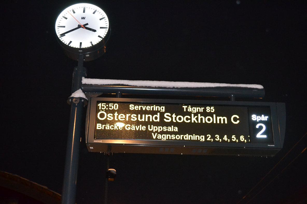 Schwedisch Foto von einem Schild am Bahnhof Åre, Region Norrland.
