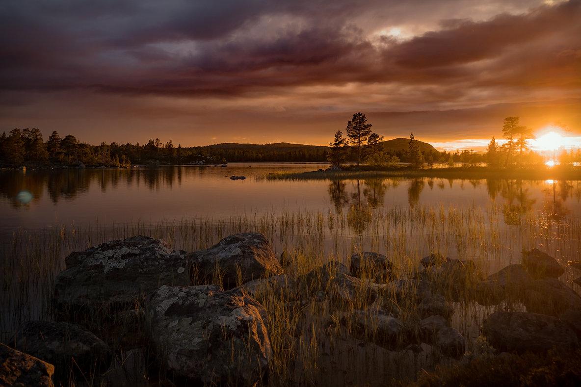 Schweden Foto von einem Waldsee im Sommer, Norrland, Jämtland. Nordschweden