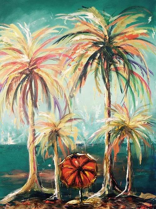 """Deserted Island"", 36 x 48, Acrylic, 2017"