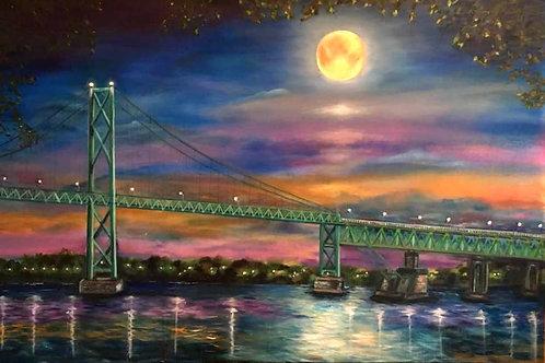 Moonlight Over International Waters 12 x 18