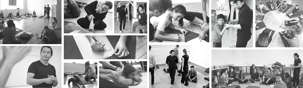 A collage of students attending a workshop on how to teach motion! to children with special needs