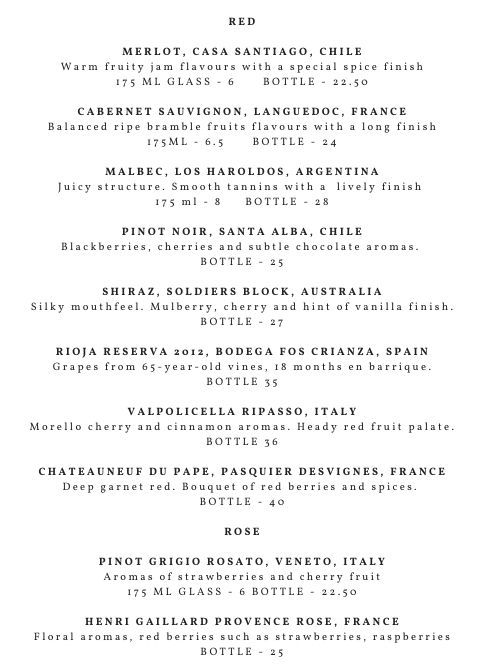 Station Kitchen red wine list