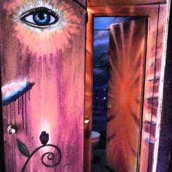 Portal Potty Bar bathroom mural