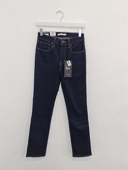 Jeans LEVIS HIGH RISE STRAIGHT Bleu foncé stretch