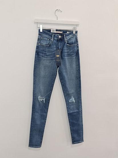 Jeans LEVIS 721 HIGH RISE SKINNY Bleu déchiré