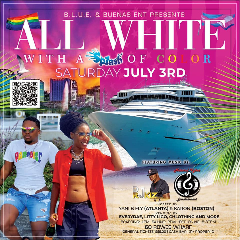 All White Boat Ride with a splash of color
