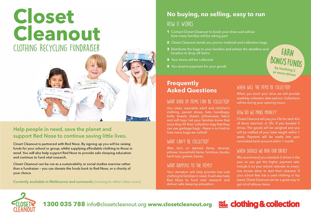 Closet Cleanout information flyer for refer a friend program