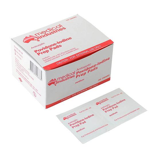 Povidone Iodine Prep Pads - Box of 100