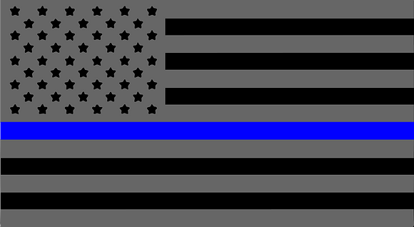 Police Blue Line American Flag License Plate