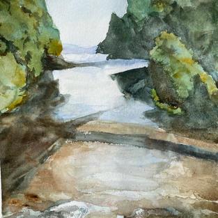 """Clearwater River"", Franz Joseph, Watercolour 290 x 420 mm"