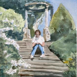 """Girl at Ayrlies Garden"", Watercolour, 297 x 420 mm"