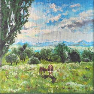 """""""Family"""", Acrylic on wood canvas, 15*15*3.5 cm"""