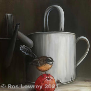 """""""Fantail and apple"""", Oil on canvas, 380 x 380 mm"""