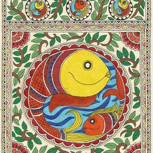Madhubani Fish (original artwork), Acrylic on handmade paper, A4