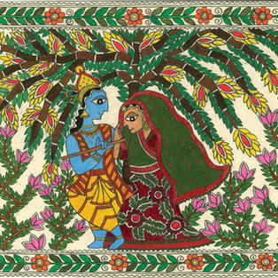 Radha and Krishna in Madhubani (original artwork), Acrylic on handmade paper, A4