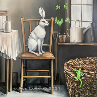 """""""White hare and green frog', Oil on canvas, 610 x 460 mm"""