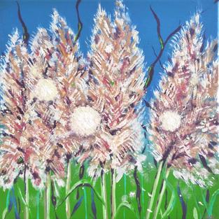 """""""Sunny Bunnies"""", Acrylic on wood canvas, 25*25*3.5 cm"""
