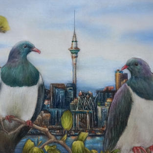 """""""City Pigeons"""", Coloured pencil and pastel on 118 gsm toned paper, 137  x 198 mm"""