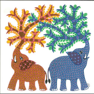"""Elephants in Gond style (Art Print), Giclée Quality Print in Archival Ink, 8"""" x 8"""""""