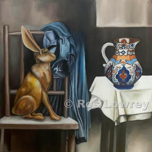 """""""Hare and jug"""", Oil on canvas, 380 x 380 mm"""