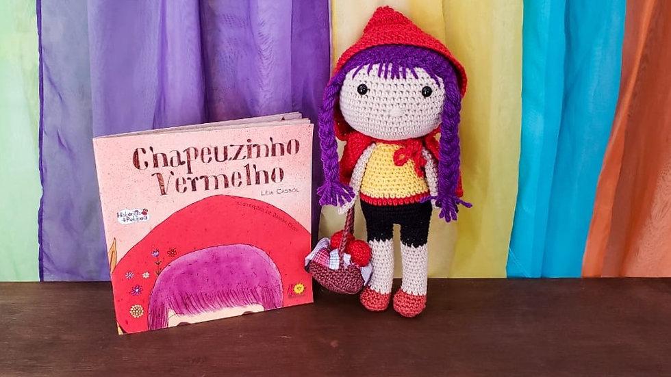 Boneca Chapeuzinho Vermelho com o Cabelo Roxo (amigurumi 30cm) + Livro
