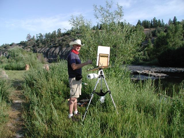 Gregory Hull painting outdoors