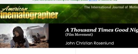 September 2014 issue of American Cinematographer magazine