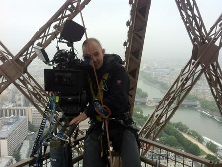 Shooting inside the amazing Eiffel Tower.
