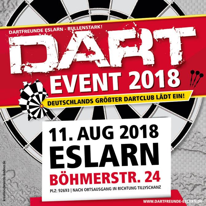 Flyer für Deutschlands größten Dartclub – Das Dart-Event der Dartfreunde Eslarn