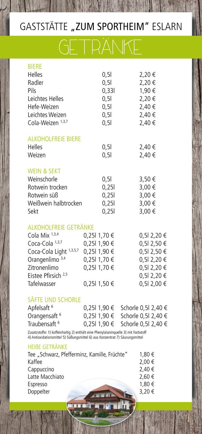 Getränkekarte für das Eslarner Sportheim