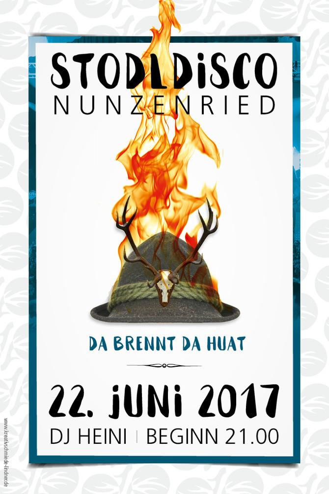 Flyer für die legendäre Stodldisco in Nunzenried!