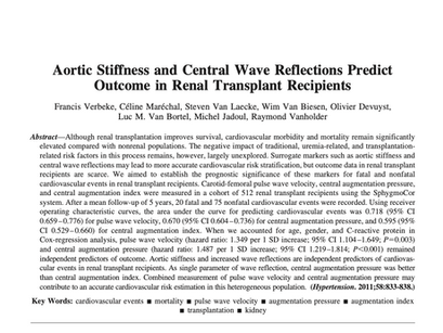 33. Aortic Stiffness and Central Wave Reflections PredictOutcome in Renal Transplant Recipients
