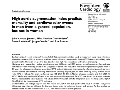 34. High aortic augmentation index predicts mortality and cardiovascular events in men
