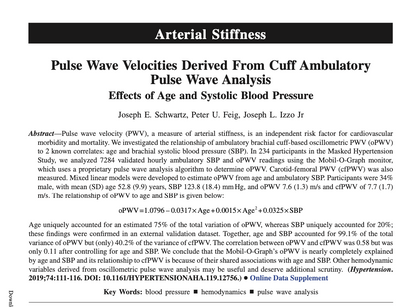 20. Pulse Wave Velocities Derived From Cuff AmbulatoryPulse Wave Analysis