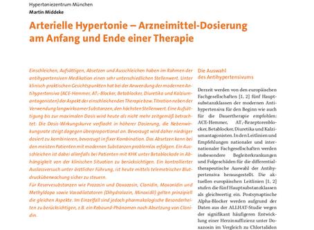 Arterielle Hypertonie - Arzneimittel-Dosierung am Anfang und Ende einer Therapie