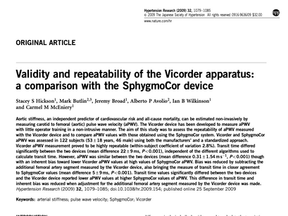 38. Validity and repeatability of the Vicorder apparatus: a comparison with the SphygmoCor device.